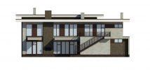 Правый фасад дома с плоской крышей