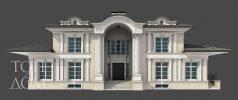 Центральный фасад частного дома из кирпича