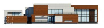 Фасад проекта современного дома с открытым бассейном