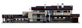 Проект главного фасада коттеджа в стиле хай-тек