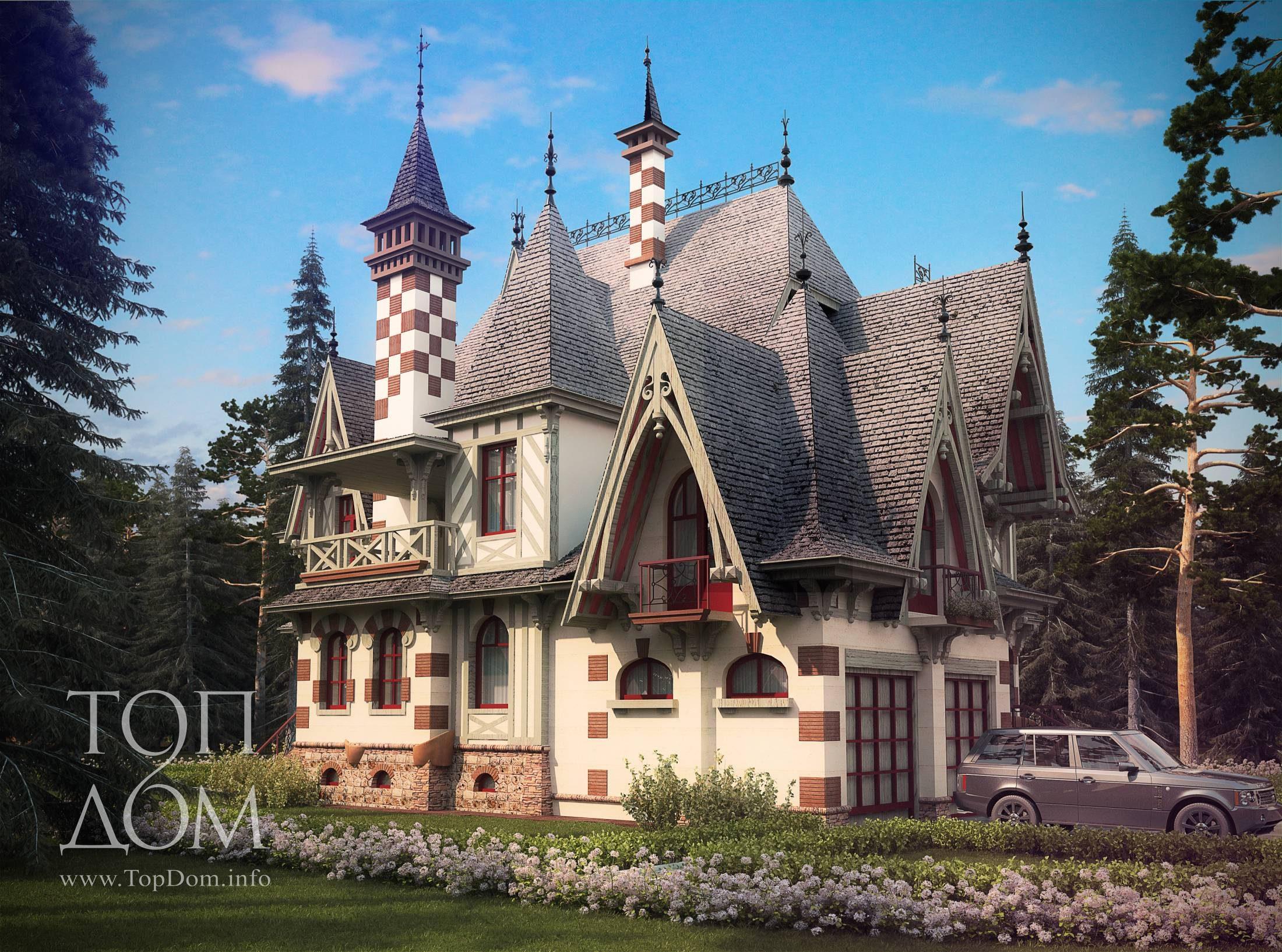 Проект коттеджа в готическом стиле
