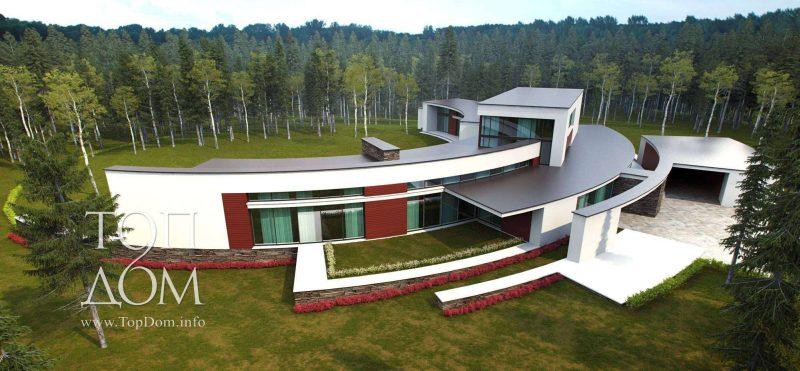 Полукруглый дом в лесу