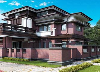 Архитектурный проект резиденции в стиле Райта