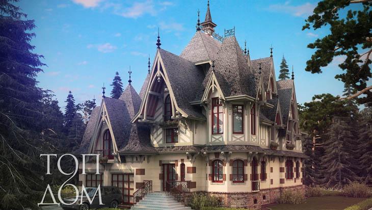 Проект строительства монолитного коттеджа в готическом стиле