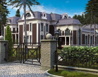 Проект двухэтажного большого дома в смешанных стилях