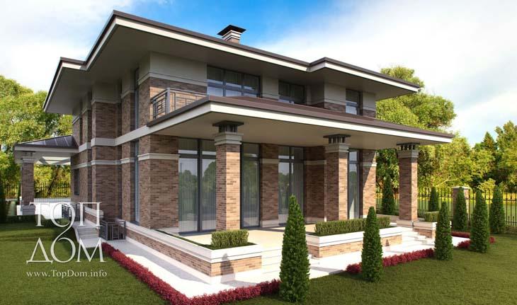 Проект кирпичного дома с гаражом (отдельностоящим)