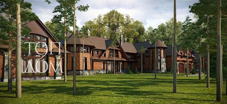 Проект строительства монолитно-кирпичного дома в стиле кантри