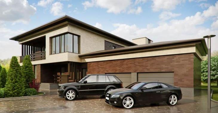 Проект монолитного дома с цокольным этажом и гаражом