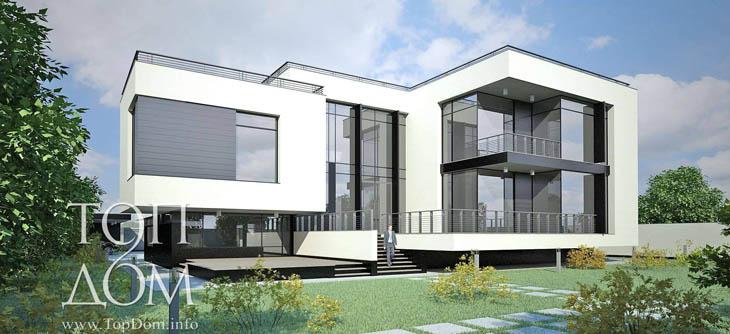 Проект строительства монолитного частного дома в стиле хай-тек