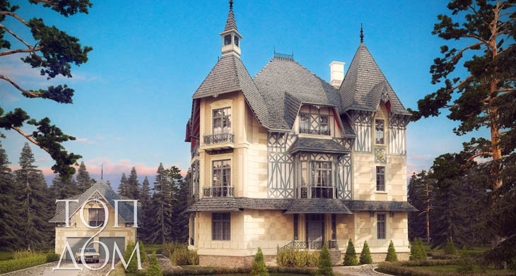 Монолитный дом в готическом стиле