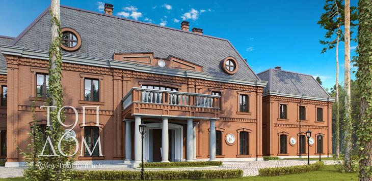 Строительство большого кирпичного коттеджа в колониальном стиле