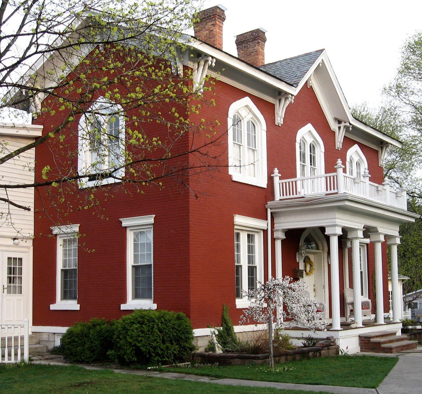 Фасады домов из красного кирпича картинки