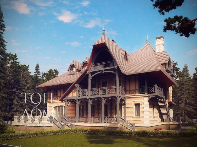 Кирпичный дом с эркером