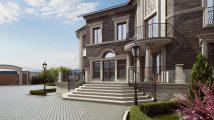 Кирпичный дом с цоколем