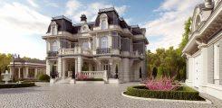 Красивый дом с классическим декором фасада