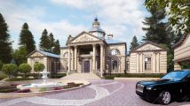 Главный фасад дома в стиле классицизм