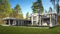 Двухэтажный дом с террасами