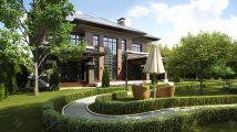 Красивый дом с красивым фасадом коричневого цвета